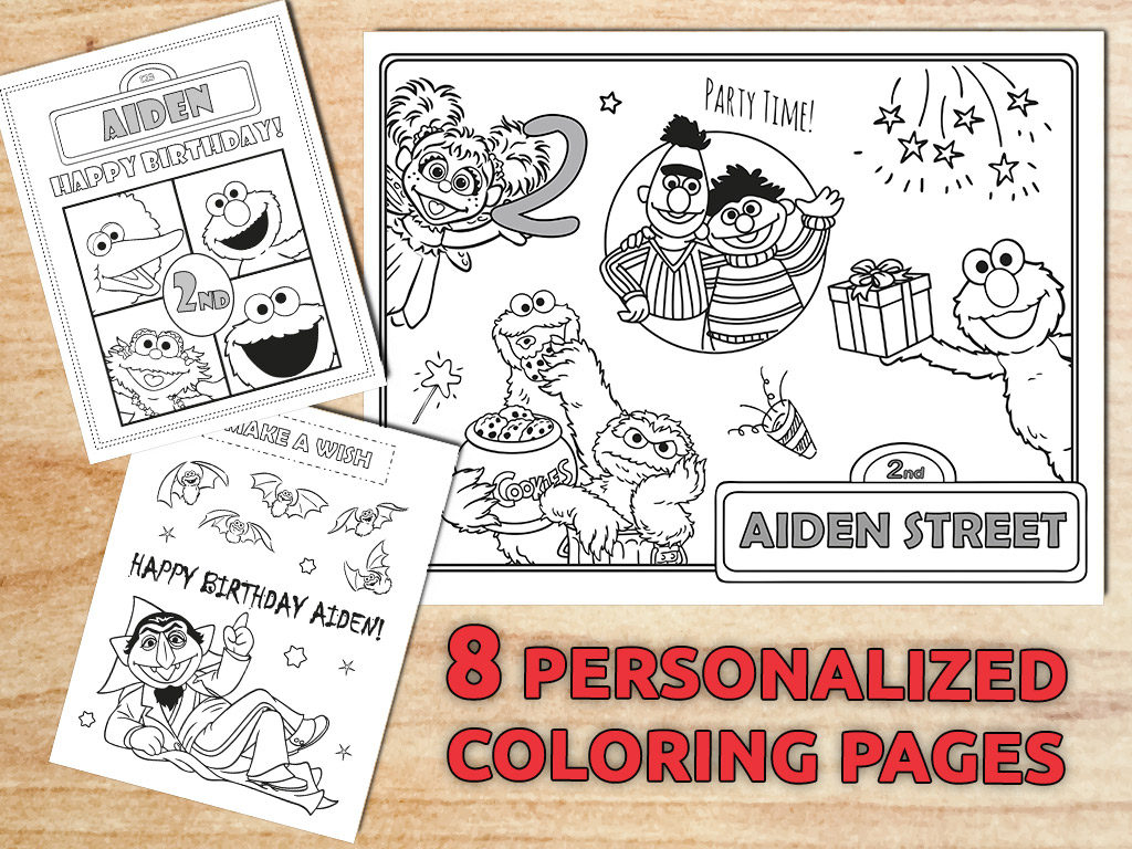 Sesame Street Sign Coloring Page Personalized Sesame Street Coloring Pages Sesame Birthday Favors Party Decorations Printable Digital Pdf