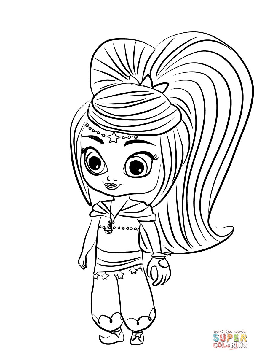 Shimmer And Shine Coloring Pages To Print Leah From Shimmer And Shine Coloring Page Free Printable Coloring