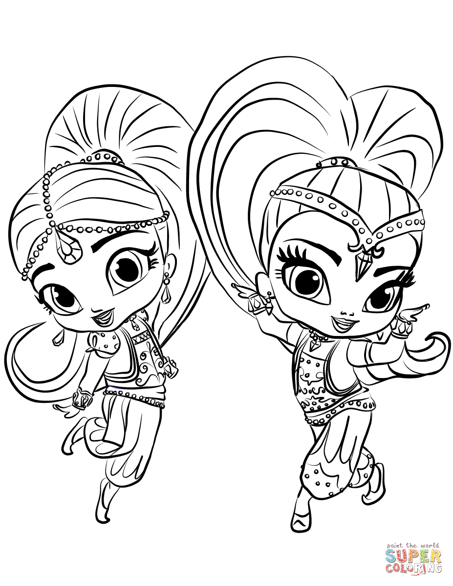 Shimmer And Shine Coloring Pages To Print Shimmer And Shine Coloring Page Free Printable Coloring Pages