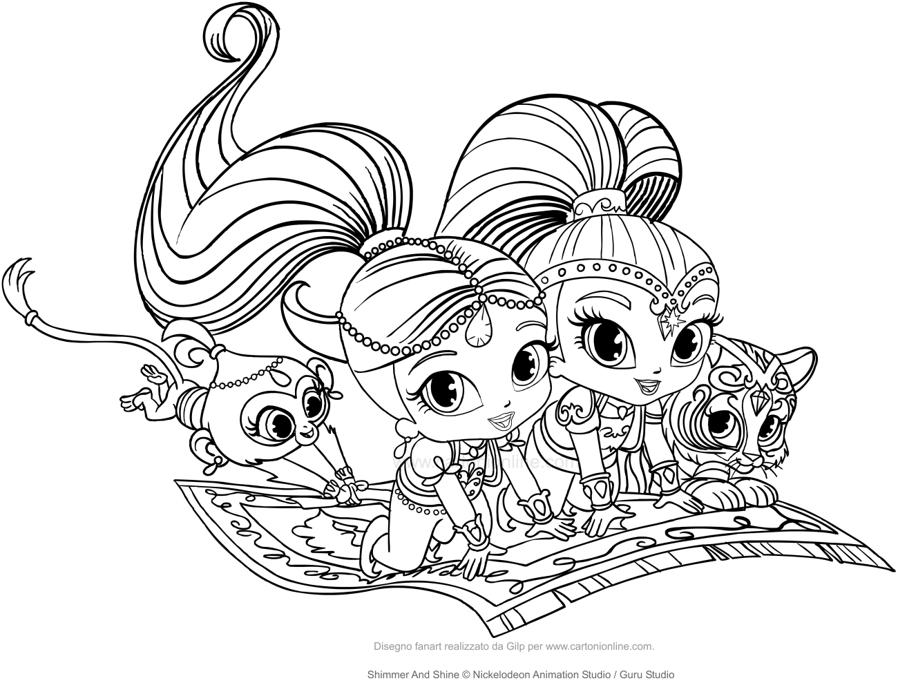 Shimmer And Shine Coloring Pages To Print Shimmer And Shine Coloring Page