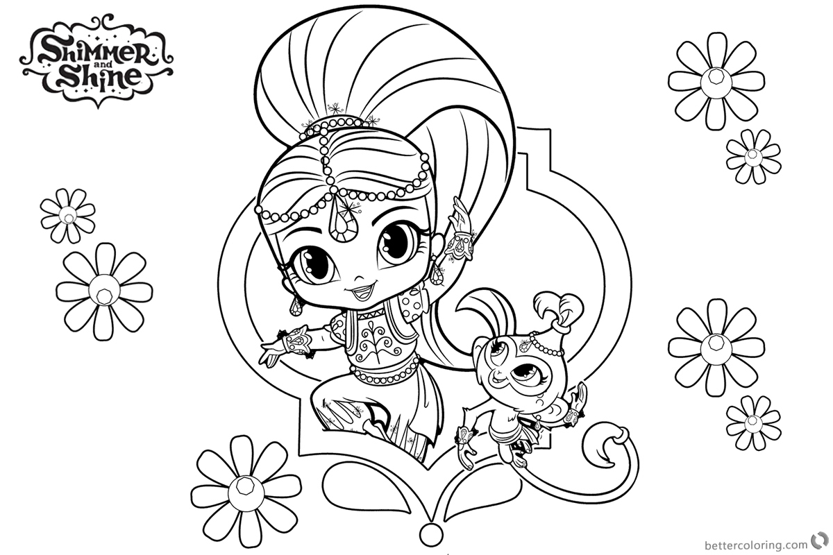 Shimmer And Shine Coloring Pages To Print Shimmer And Shine Coloring Pages Druckbare Frbung Shimmer And Shine