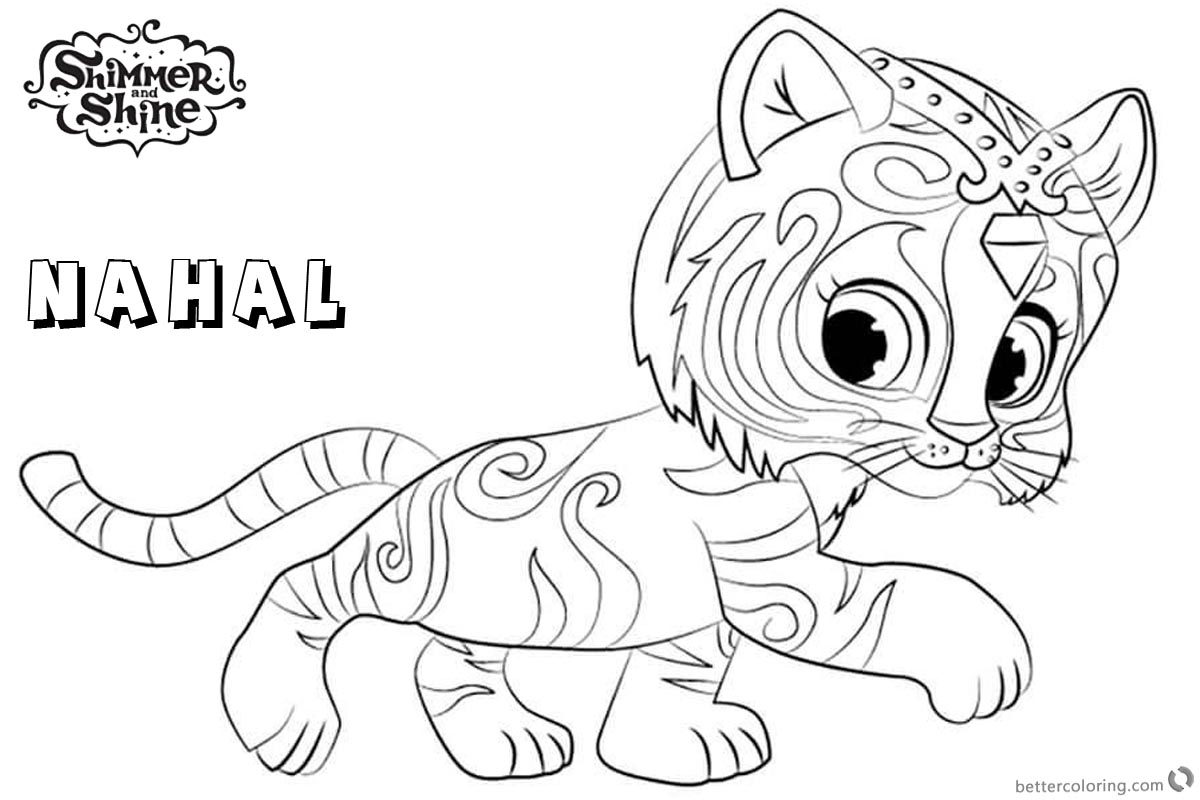 Shimmer And Shine Coloring Pages To Print Shimmer And Shine Coloring Pages Nahal Walking Free Printable