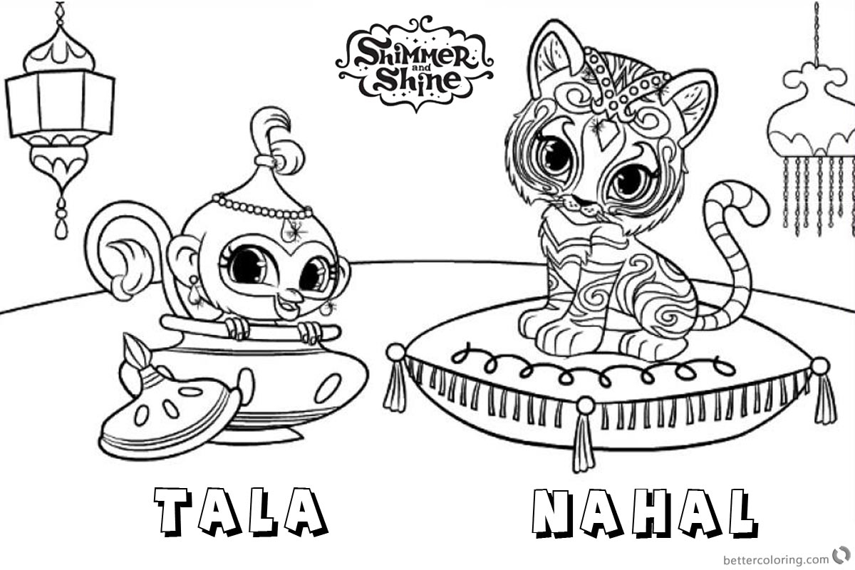 Shimmer And Shine Coloring Pages To Print Shimmer And Shine Coloring Pages Pet Tiger And Monkey Free