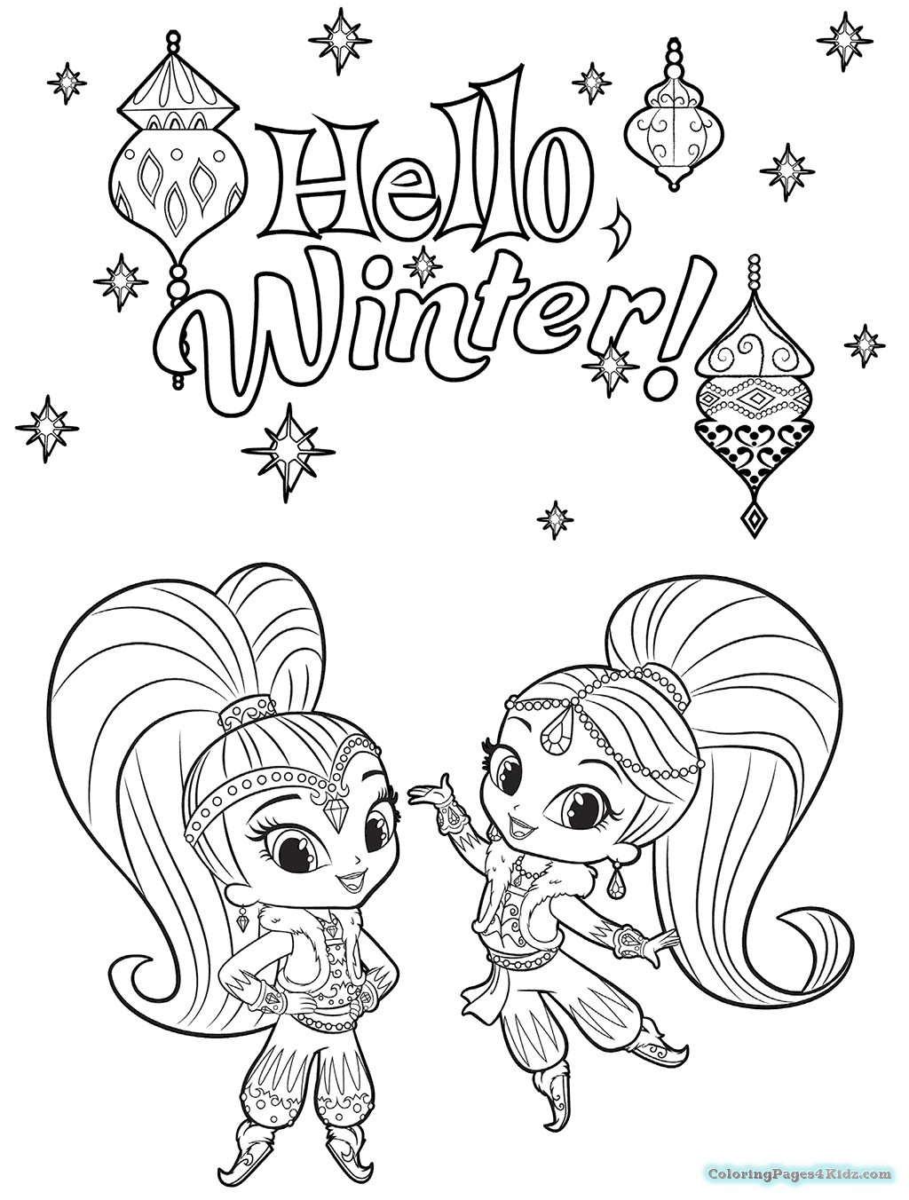 Shimmer And Shine Coloring Pages To Print Shimmer And Shine Coloring Pages Printable Free Printable Coloring