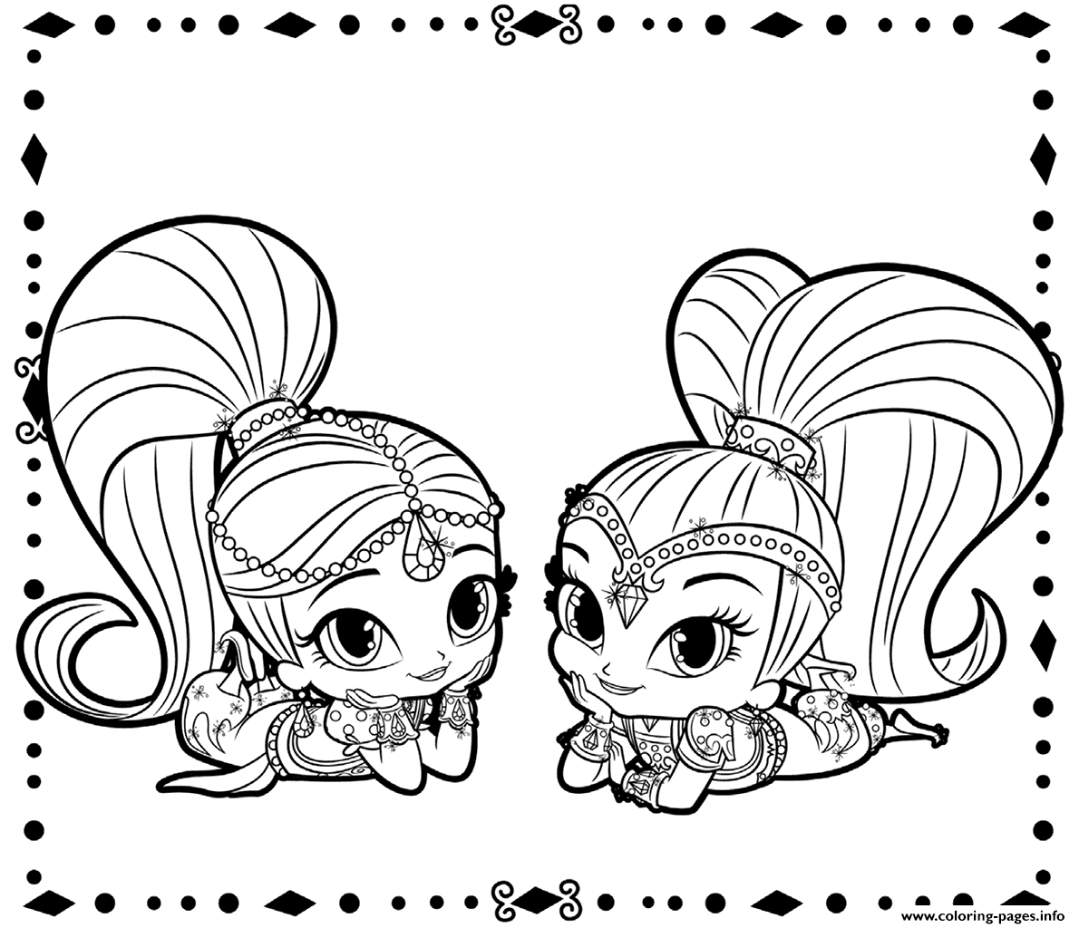 Shimmer And Shine Coloring Pages To Print Shimmer And Shine Coloring Pages Printable