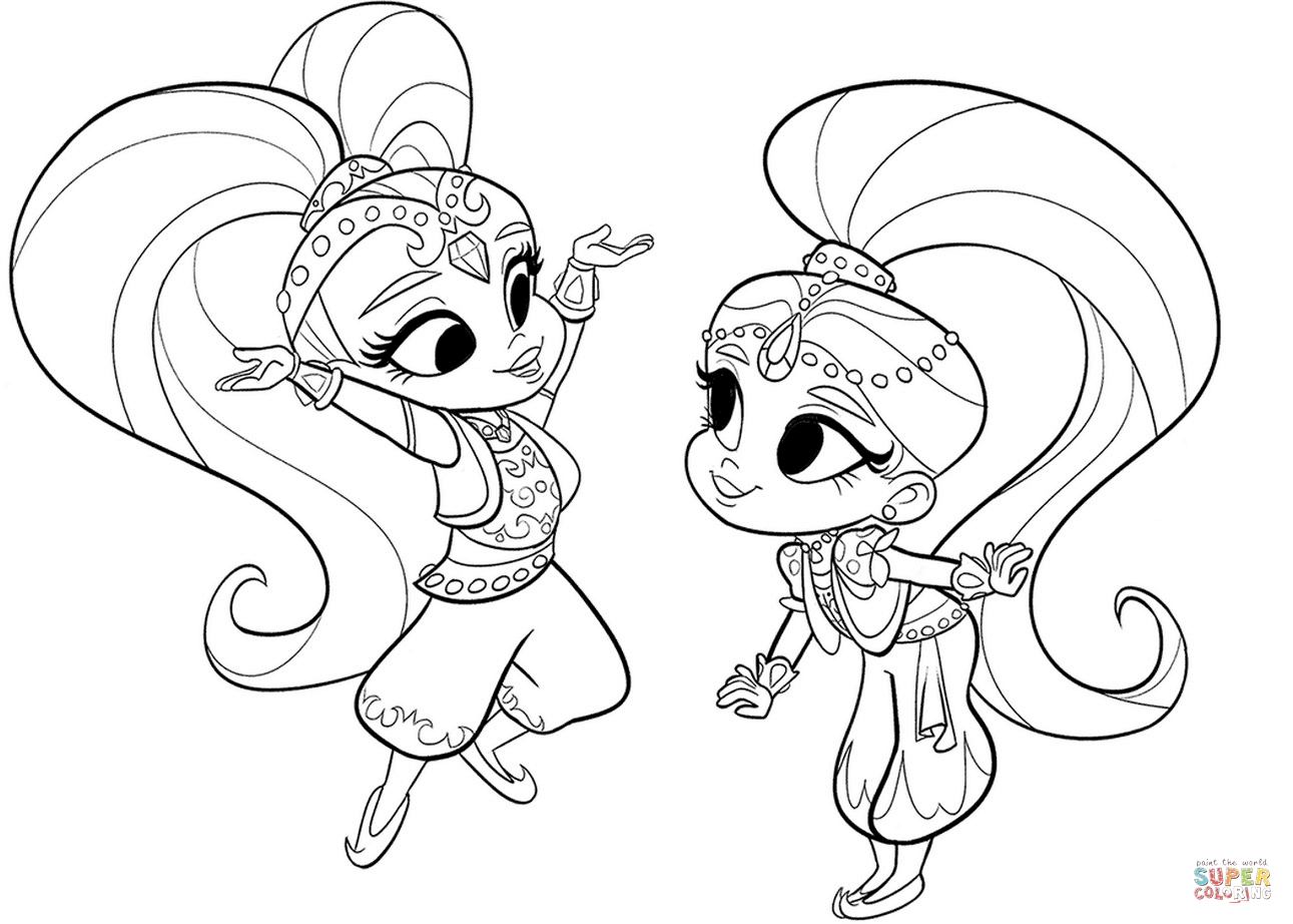 Shimmer And Shine Coloring Pages To Print Shimmer And Shine Colouring Printable Printable Coloring Fun Time