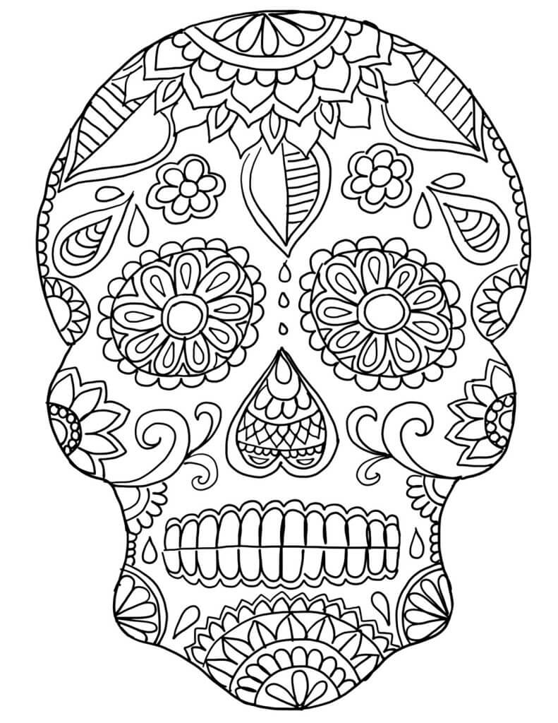 Skull Color Pages 30 Free Printable Sugar Skull Coloring Pages