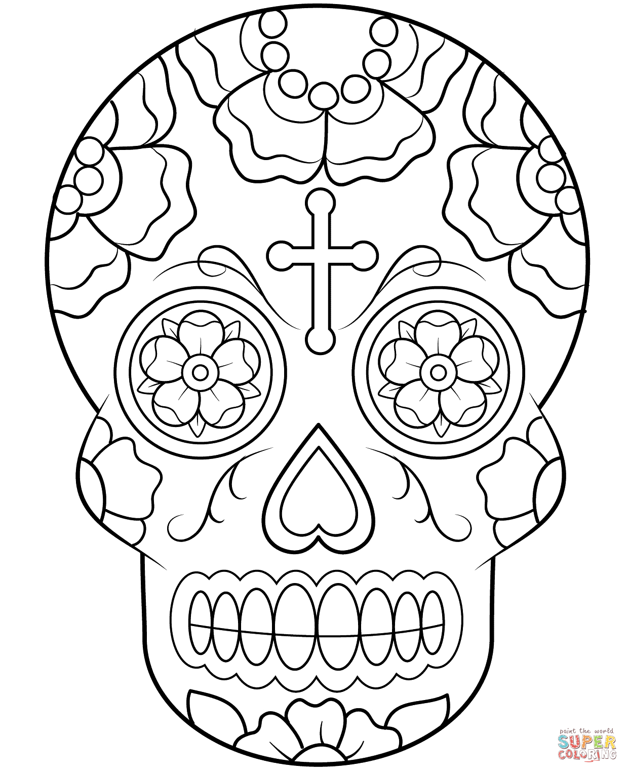 Skull Color Pages Calavera Sugar Skull Coloring Page Free Printable Coloring Pages