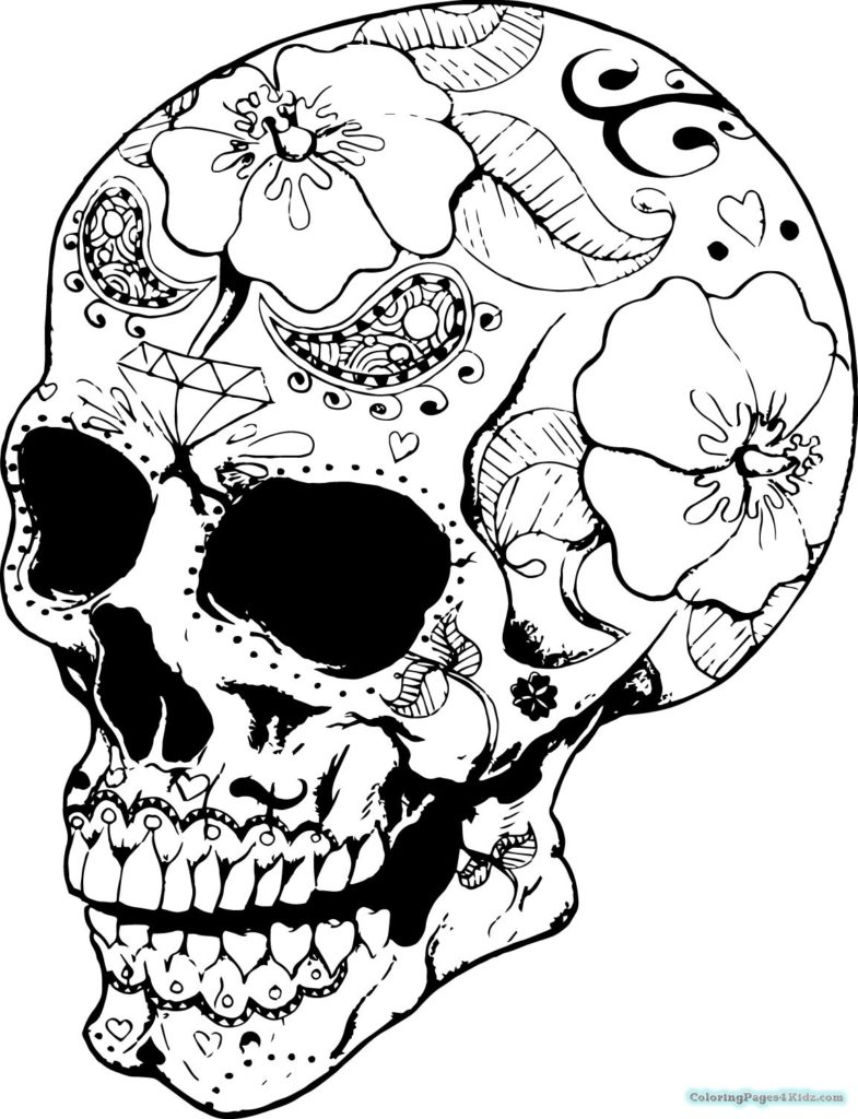 Skull Color Pages Coloring Candy Skull Coloring Pages Picture Inspirations Hello