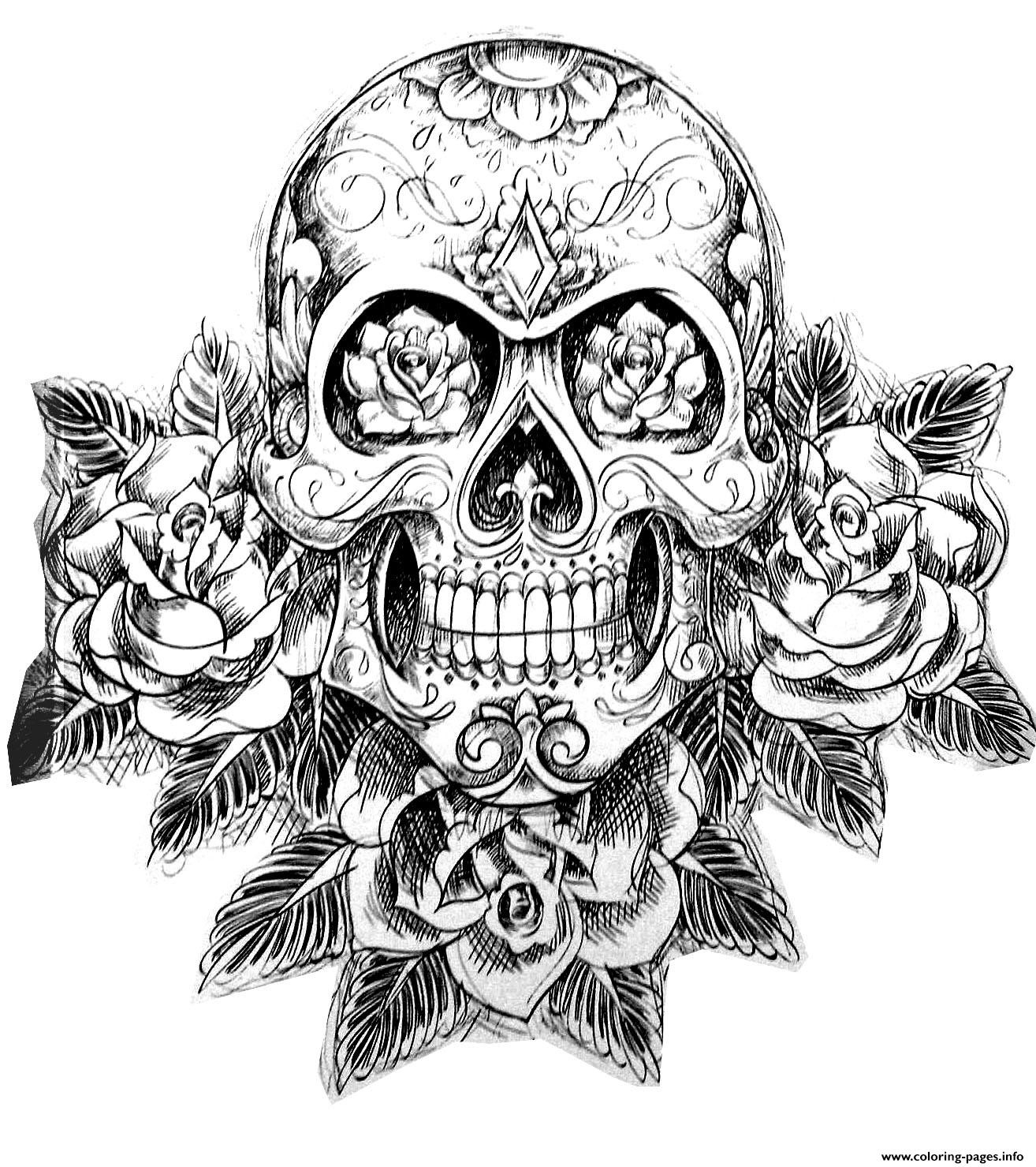 Skull Color Pages Coloring Cute Skull Coloring Pages For Kids With Day Of The Sugar