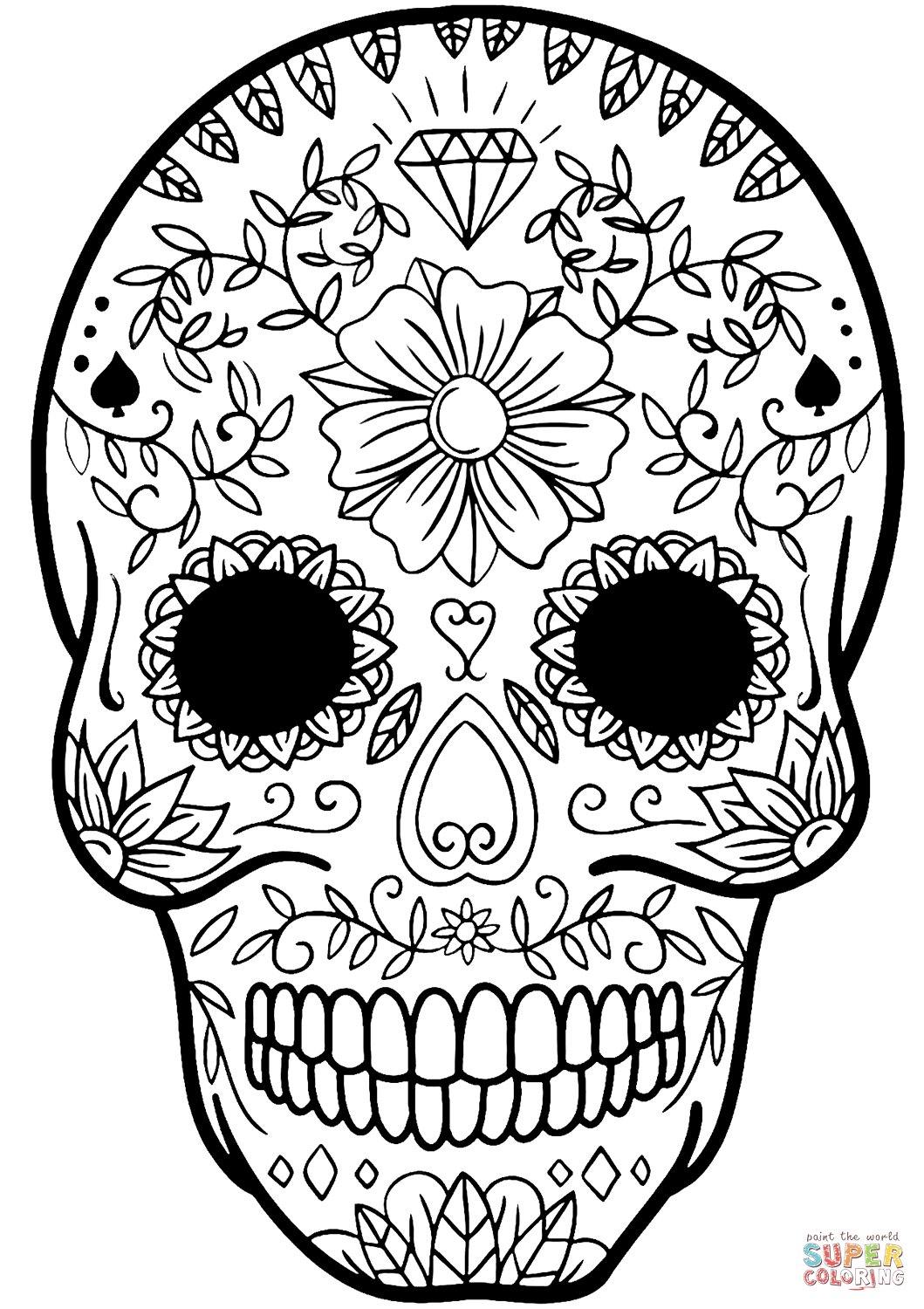 Skull Color Pages Coloring Ideas Sugar Skull Coloring Page Bones Of The Pages Ideas