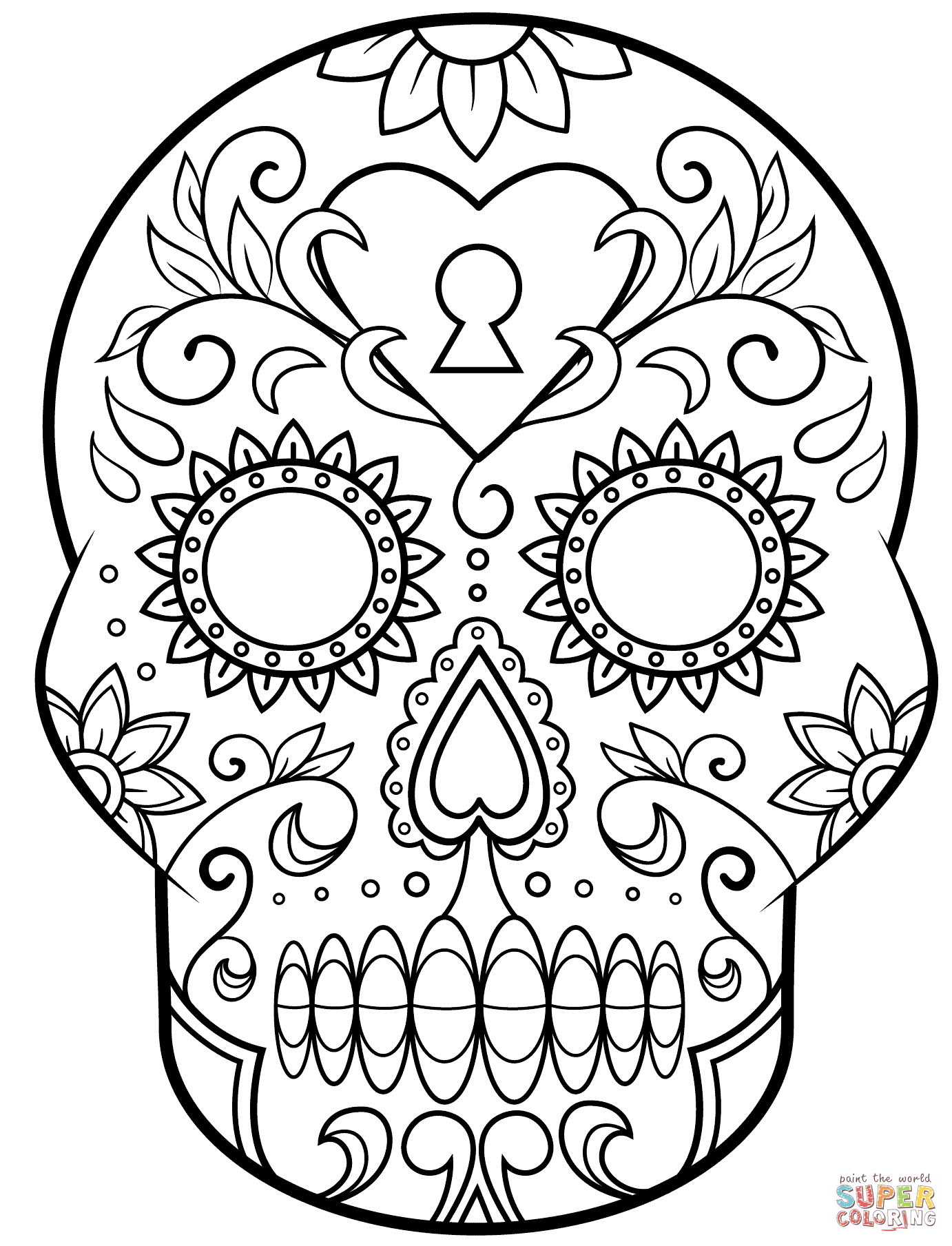 Skull Color Pages Day Of The Dead Sugar Skull Coloring Page Free Printable Coloring