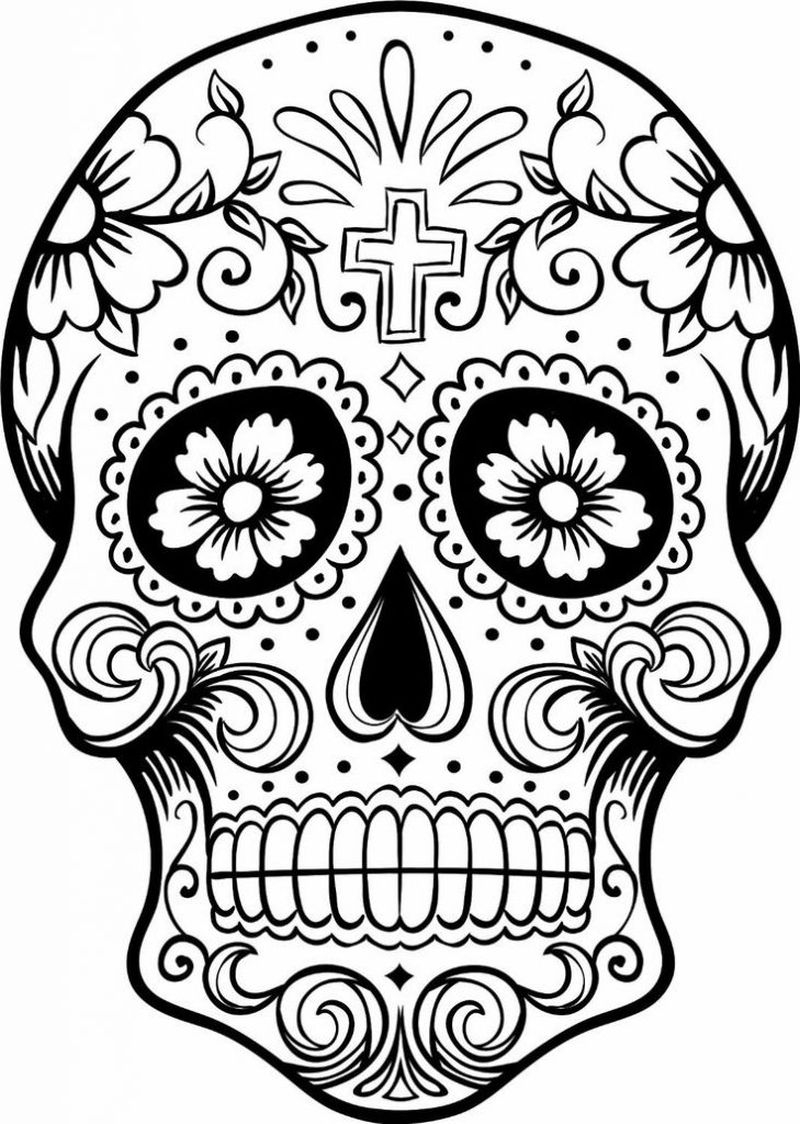 Skull Color Pages Sugar Skull Coloring Pages For Adults Free Coloring Sheets