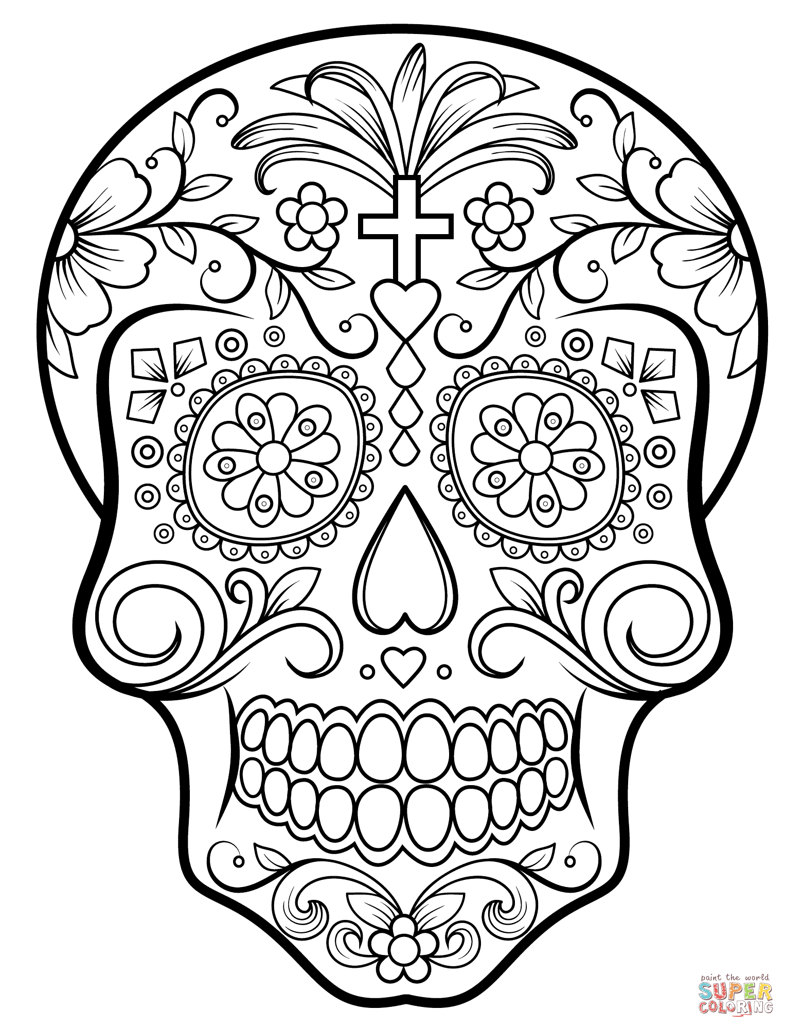Skull Color Pages Sugar Skulls Coloring Pages Free Coloring Pages
