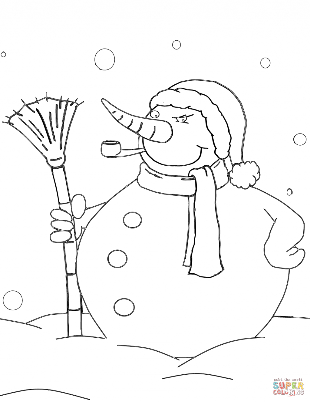 Snowmen Coloring Pages Coloring Book World Snowman Coloring Pages Free With Pipe And