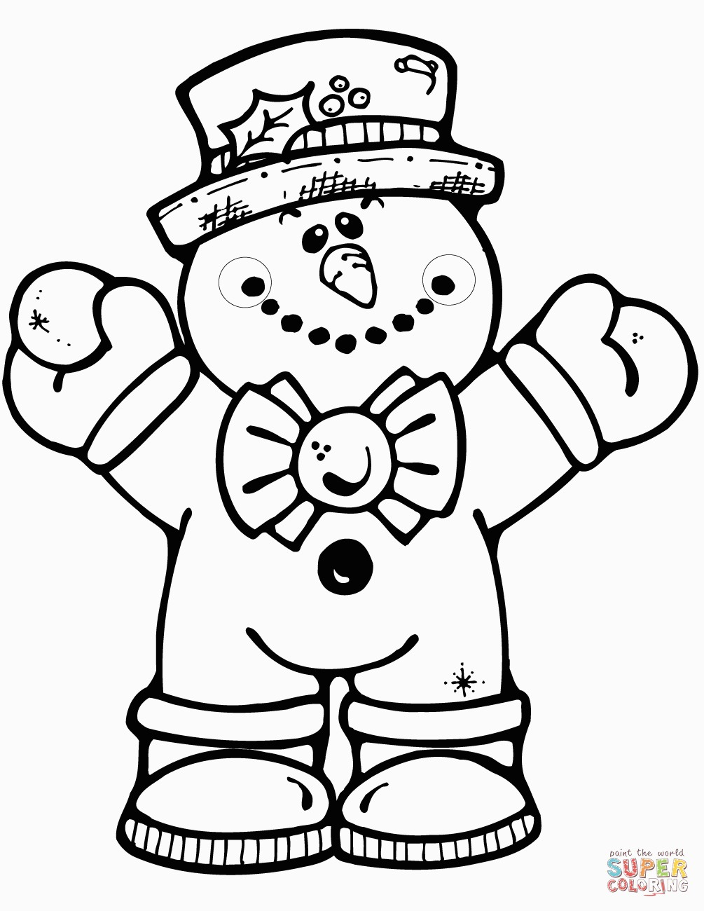Snowmen Coloring Pages Hugging Snowman Coloring Page For Snowman To Color Printable