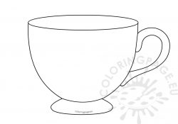 Teacup Coloring Pages To Print Tea Cup Template Printable Coloring Page