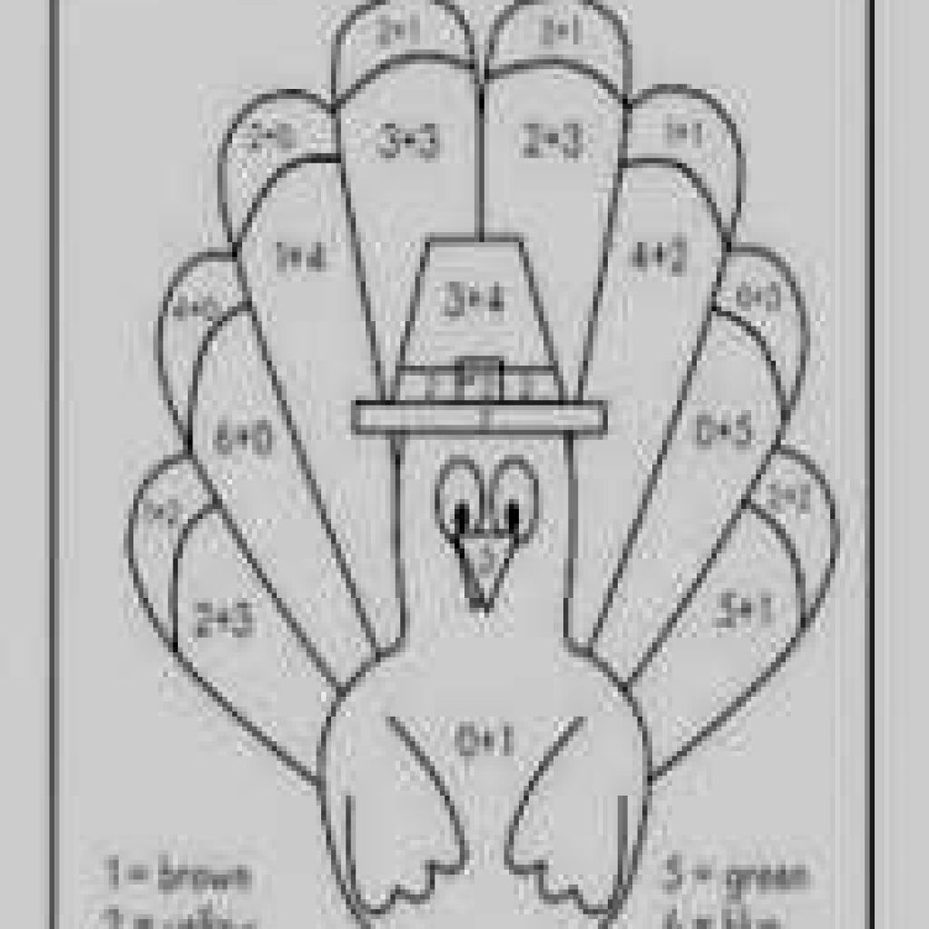 Thanksgiving Color By Number Pages Thanksgiving Coloring Pages Math Turkey Color Number Addition
