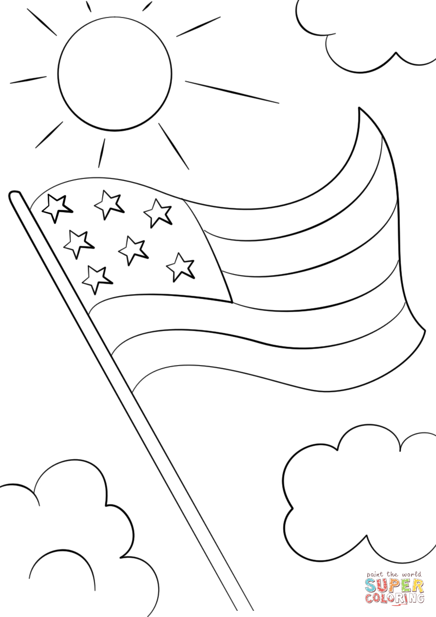 The American Flag Coloring Page Cartoon Usa Flag Coloring Page Free Printable Coloring Pages