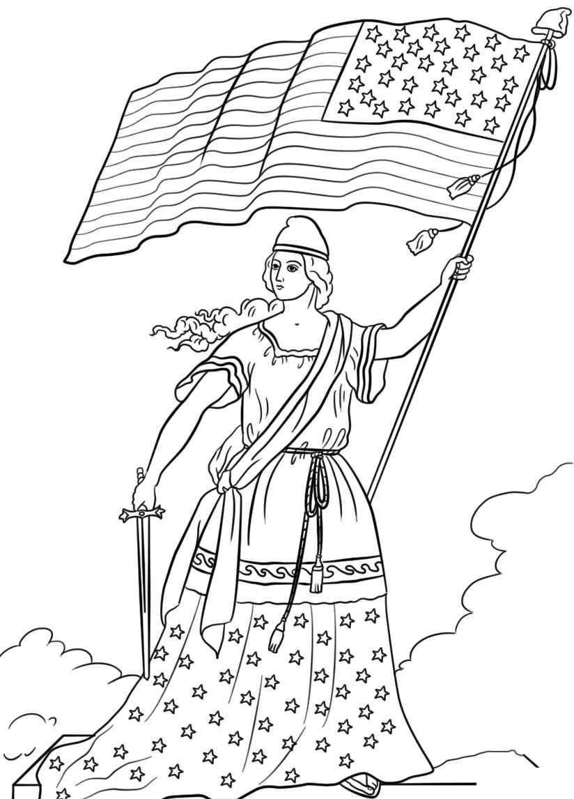 The American Flag Coloring Page Lady With American Flag Coloring Pages 824 X 1146 834 Kb