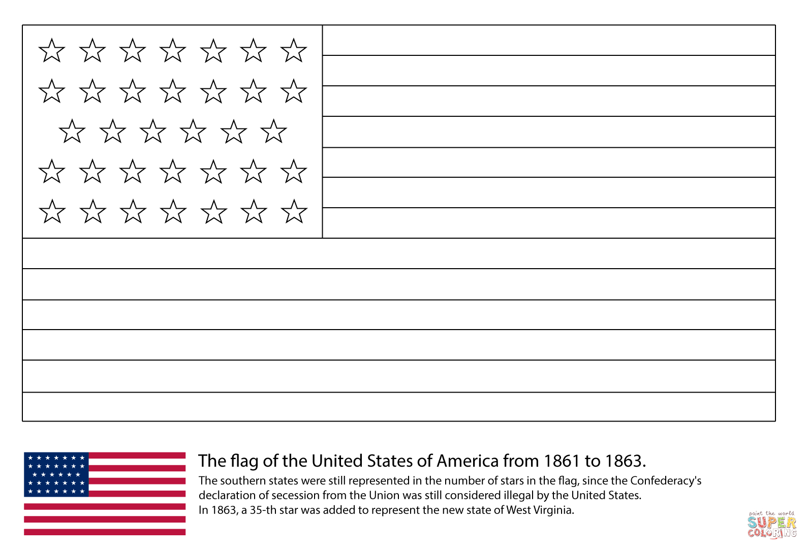 The American Flag Coloring Page Us Flag With 34 Stars 1861 1863 Coloring Page Free Printable