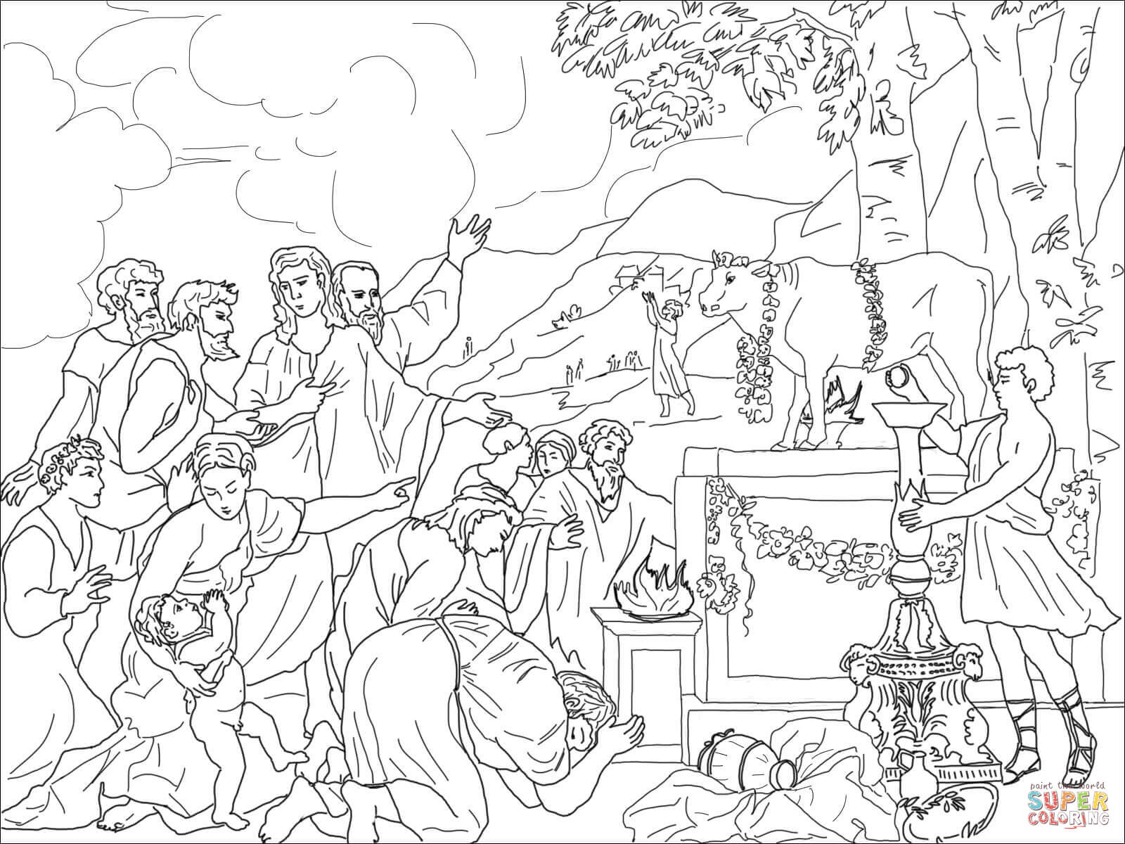 The Golden Calf Coloring Page Adoration Of Golden Calf Coloring Page Free Printable Coloring Pages