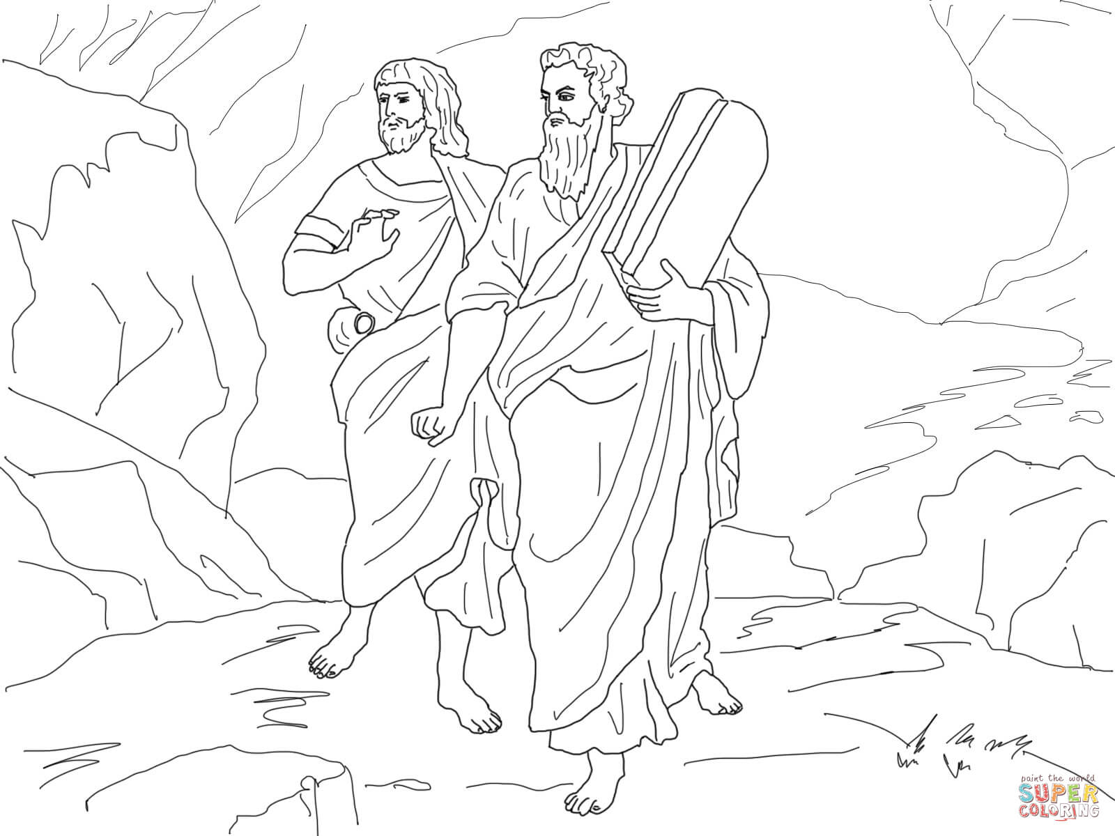 The Golden Calf Coloring Page Moses And Joshua Bearing The Law Coloring Page Free Printable