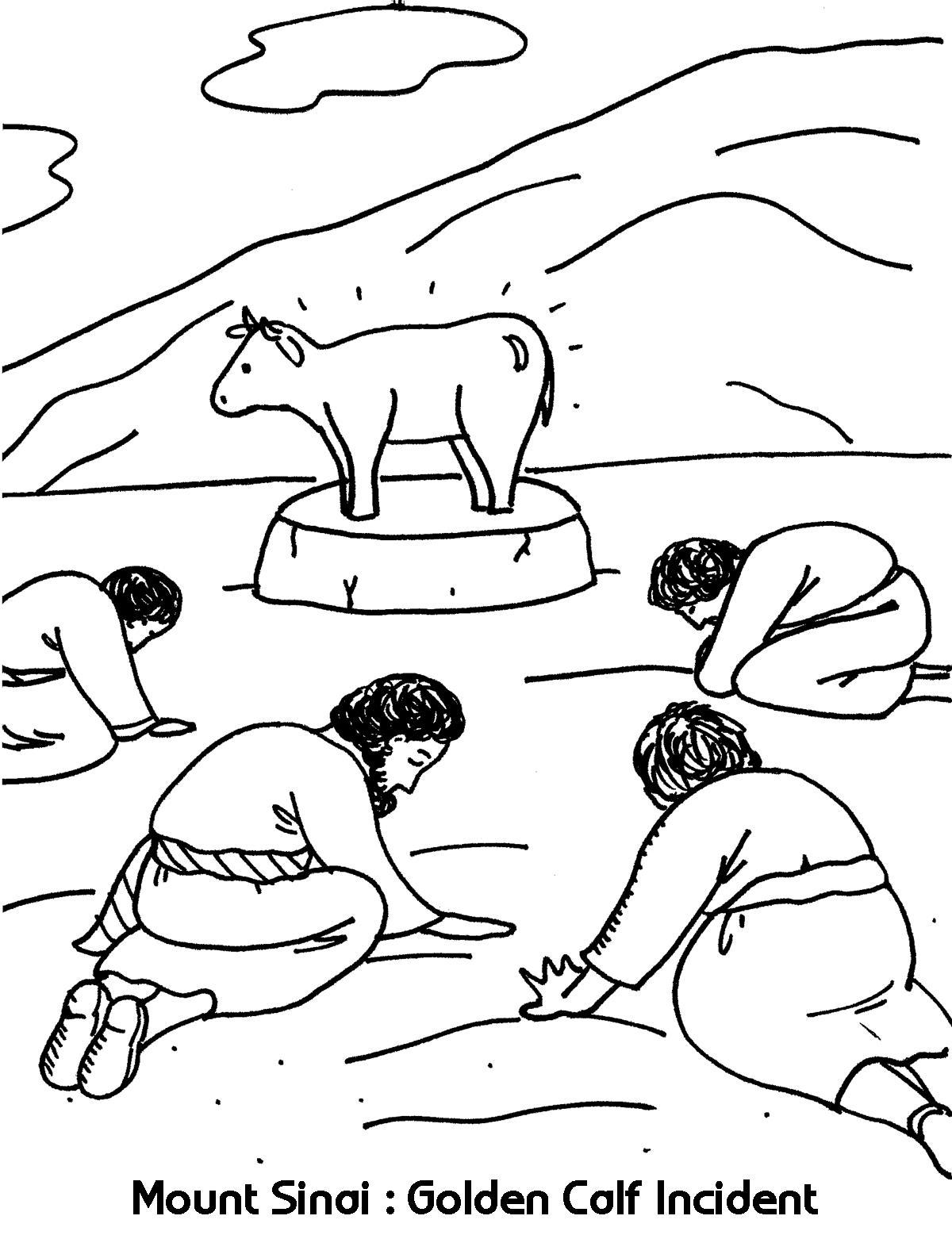The Golden Calf Coloring Page Mount Sinai Golden Calf Incident Coloring Sheets Wesleyan Kids