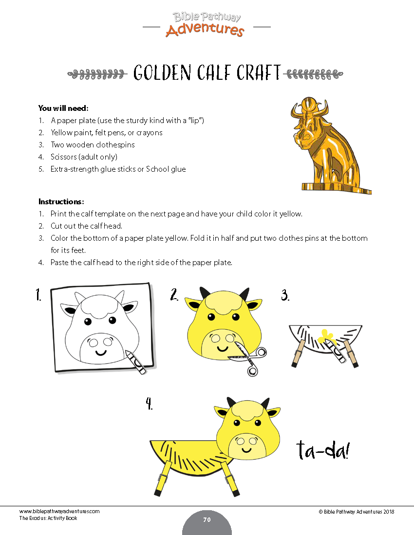 The Golden Calf Coloring Page The Exodus Activity Book Kids Ages 6 12 Bible Pathway Adventures
