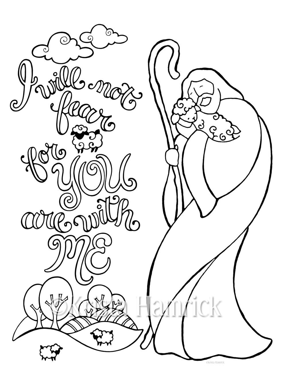 The Good Shepherd Coloring Page Good Shepherd Coloring Page In Two Sizes 85x11 And Bible Journaling Tip In 6x8