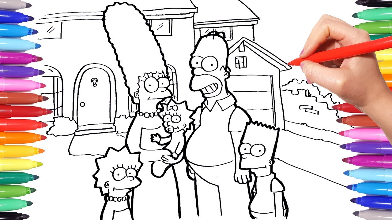 The Simpsons Coloring Pages Simpsons Coloring Pages How To Draw Bart Homer Lisa And Marge Simpsons Coloring Book For Kids