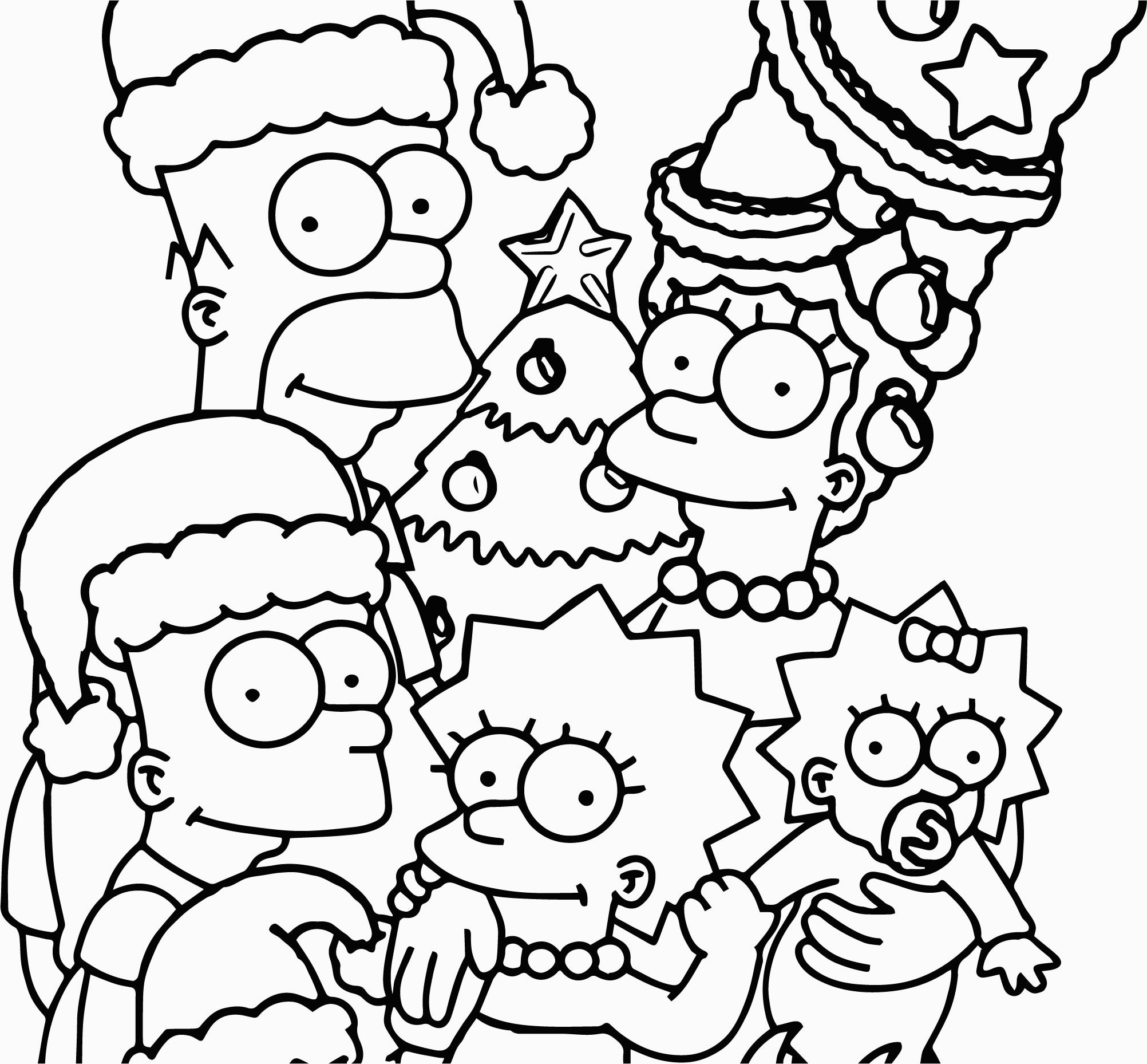 The Simpsons Coloring Pages The Simpsons Wallpaper Christmas Coloring Page For The Simpsons