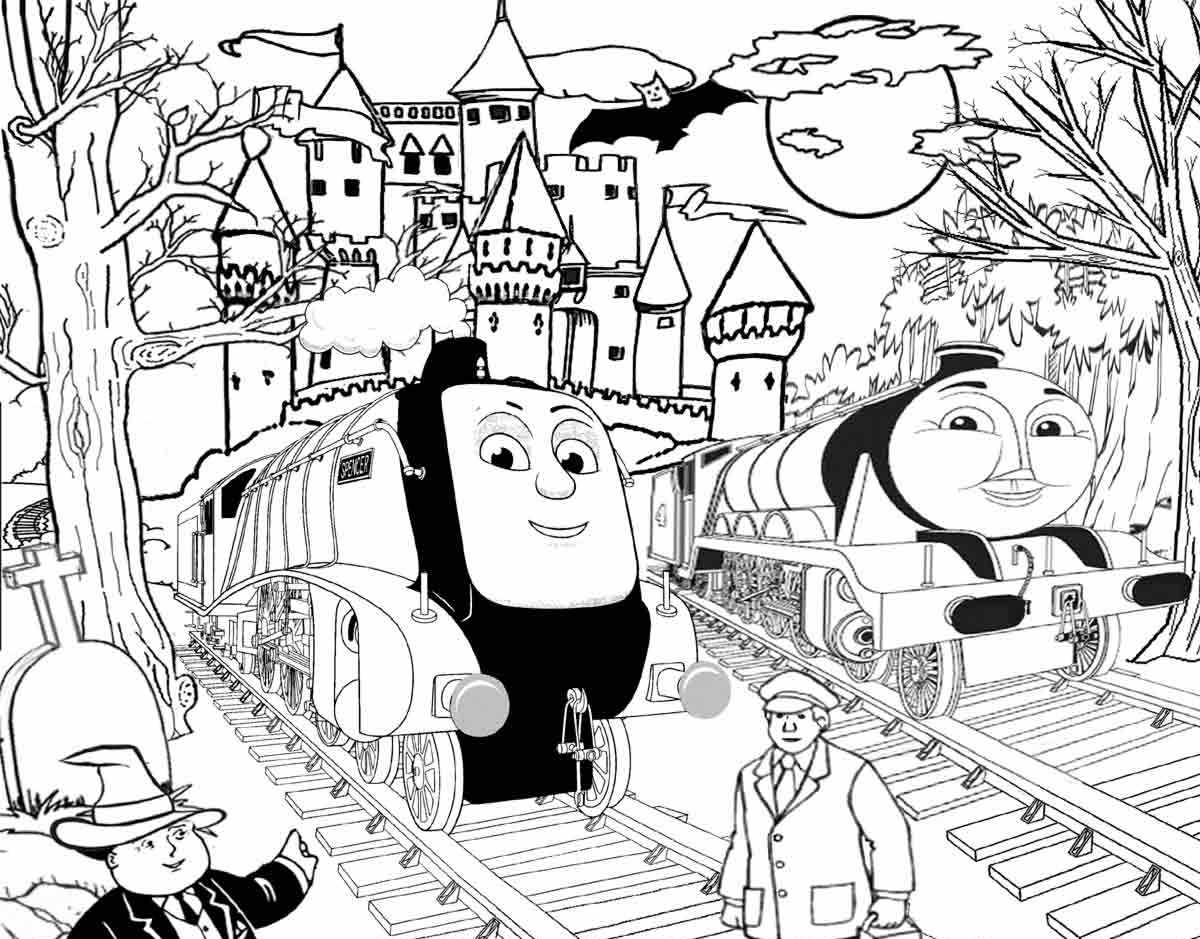 Thomas And Friends Coloring Pages Coloring Ideas Spencer And Gordon Halloweenomase Train Coloring