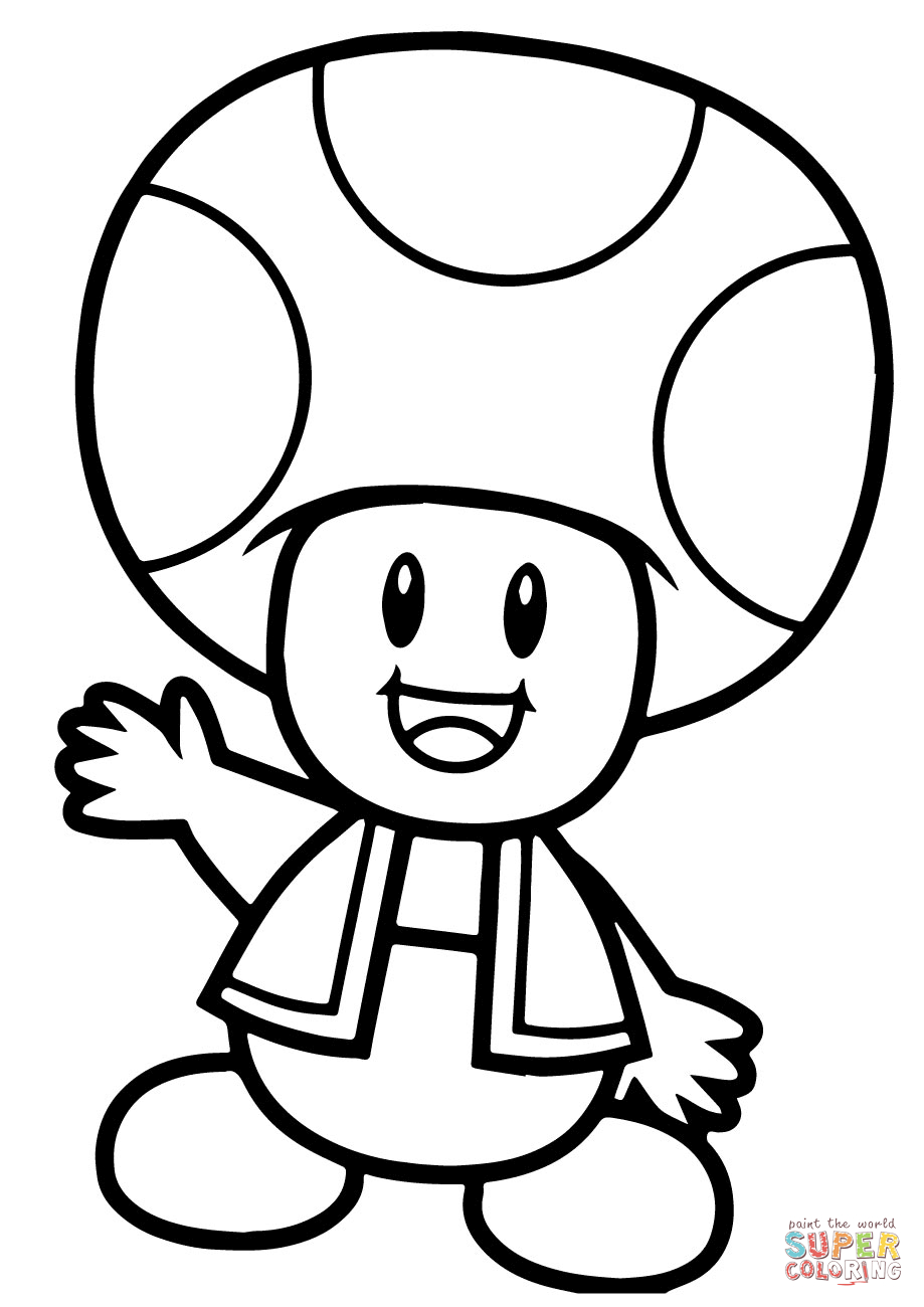 Toad And Toadette Coloring Pages Super Mario Bros Toad Coloring Page Free Printable Coloring Pages