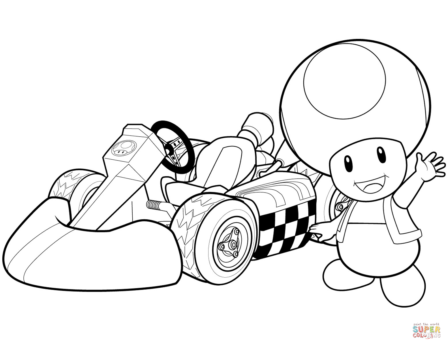 Toad And Toadette Coloring Pages Toad In Mario Kart Wii Coloring Page Free Printable Coloring Pages