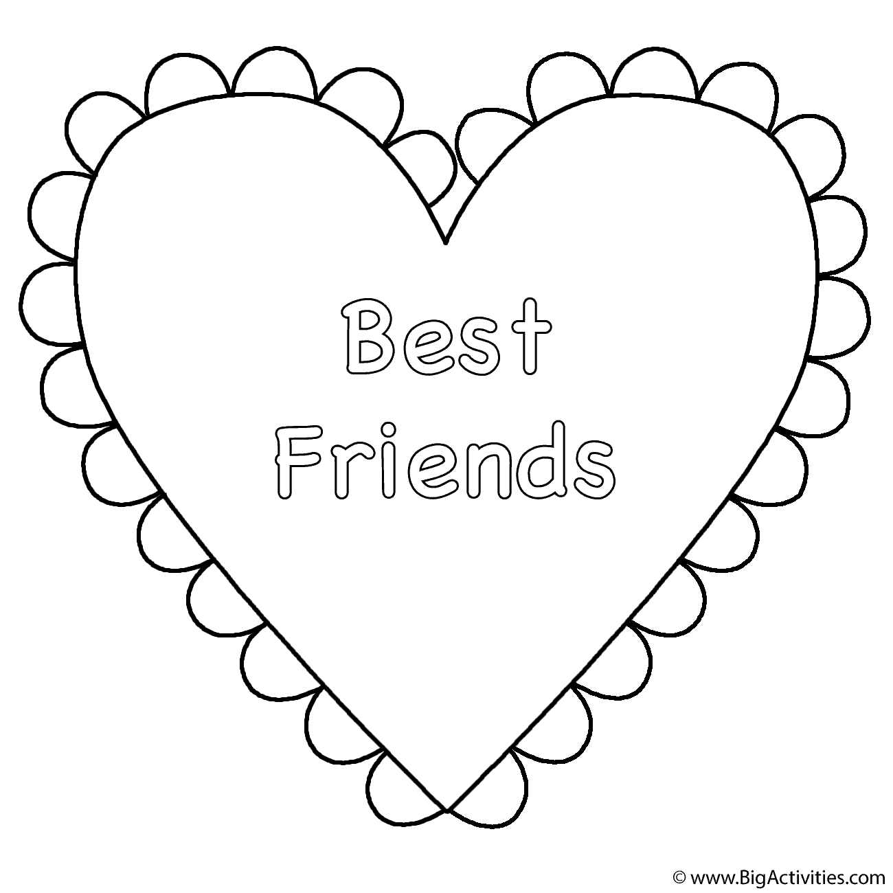 Valentines Day Hearts Coloring Pages Heart Best Friends Coloring Page Valentines Day