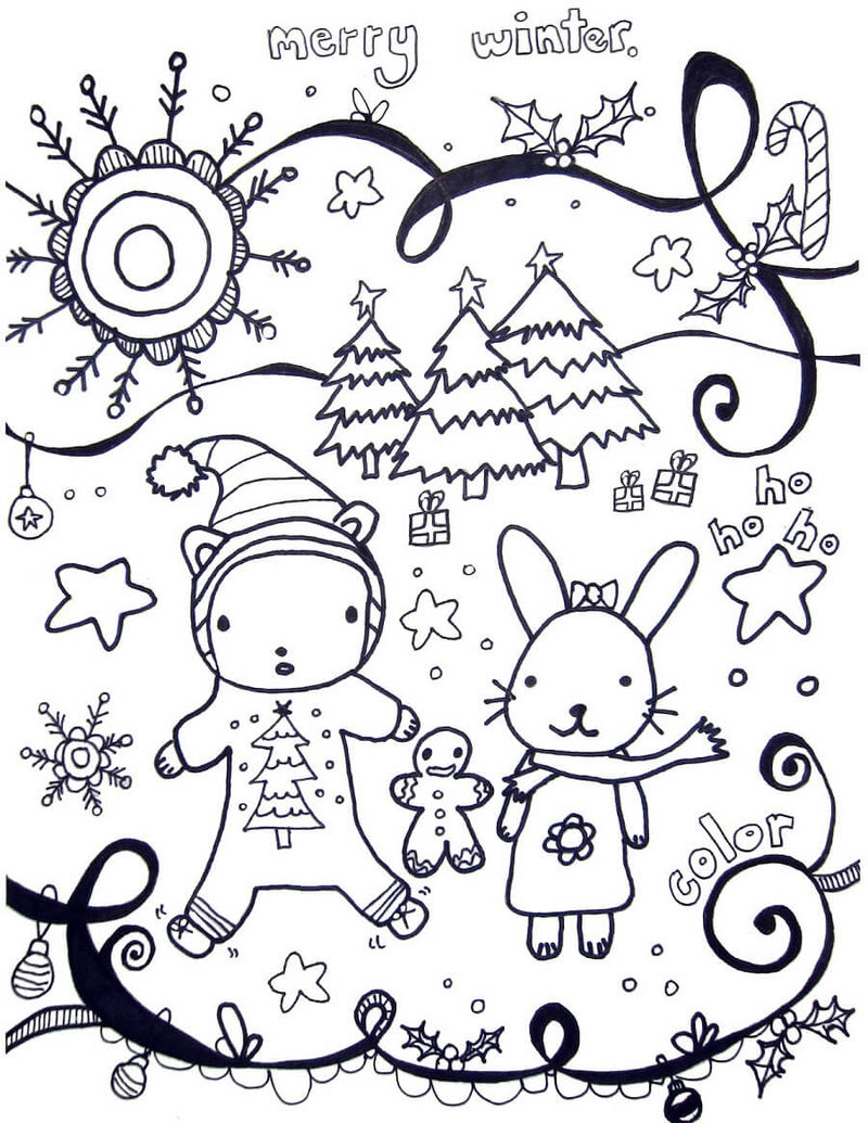 Winter Coloring Pages Printable Cute Animals Saying Merry Winter Coloring Page Printable Coloring