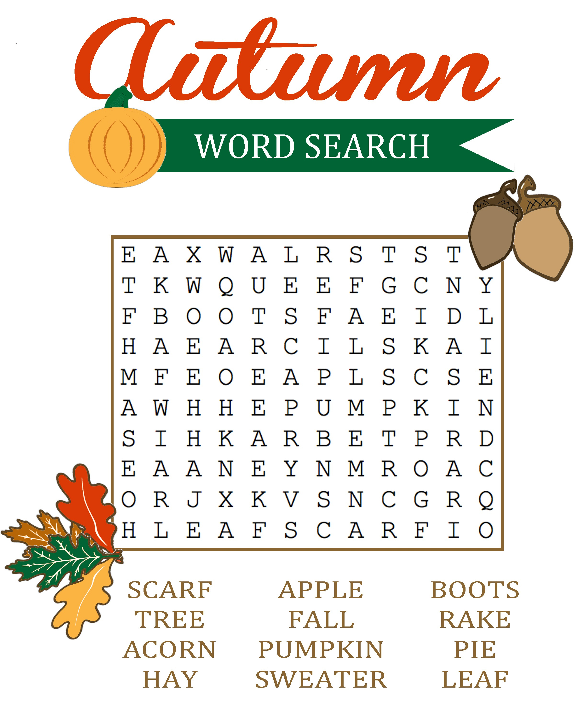 Word Search Coloring Pages To Print Fall Word Search For Brain Training Activity Shelter