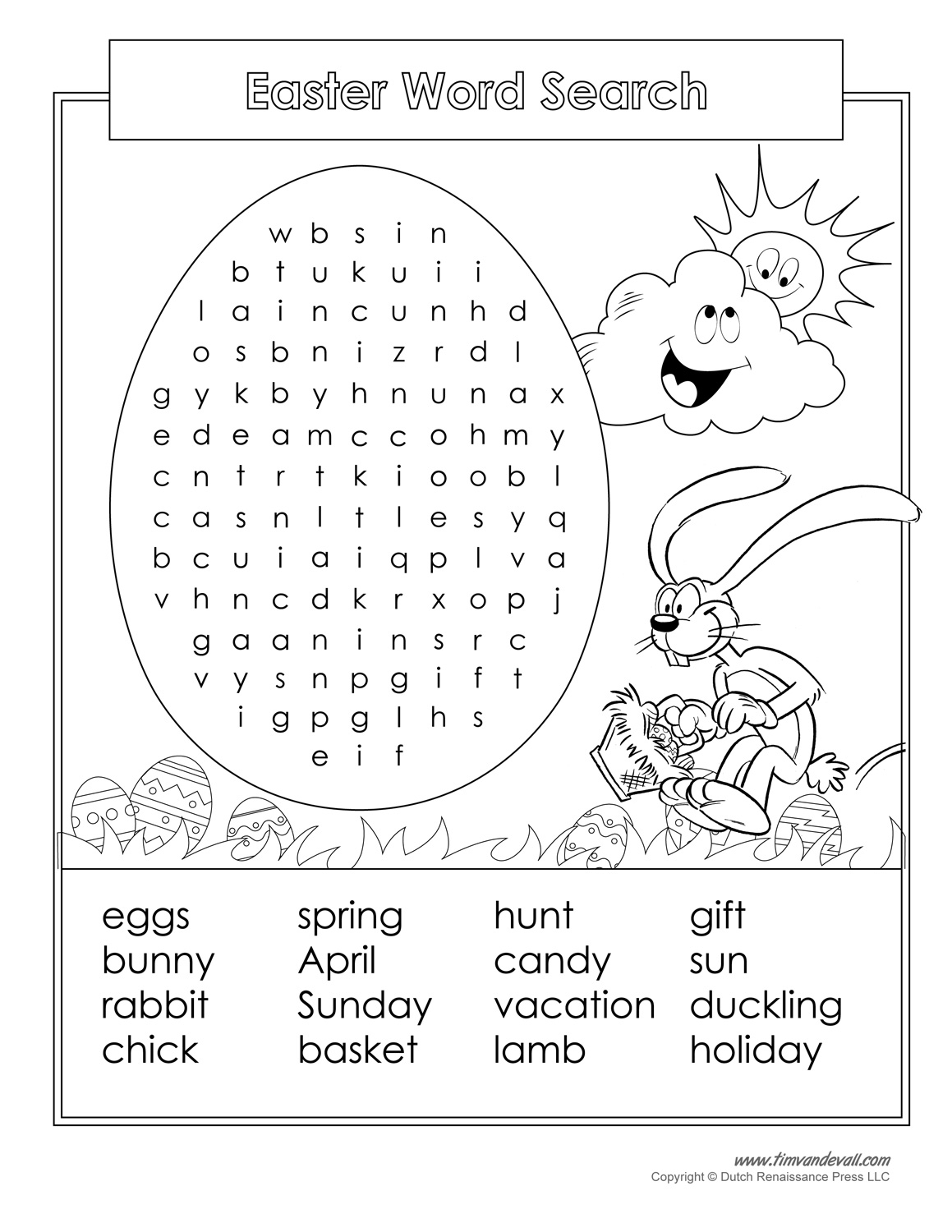 Word Search Coloring Pages To Print Printable Easter Word Search