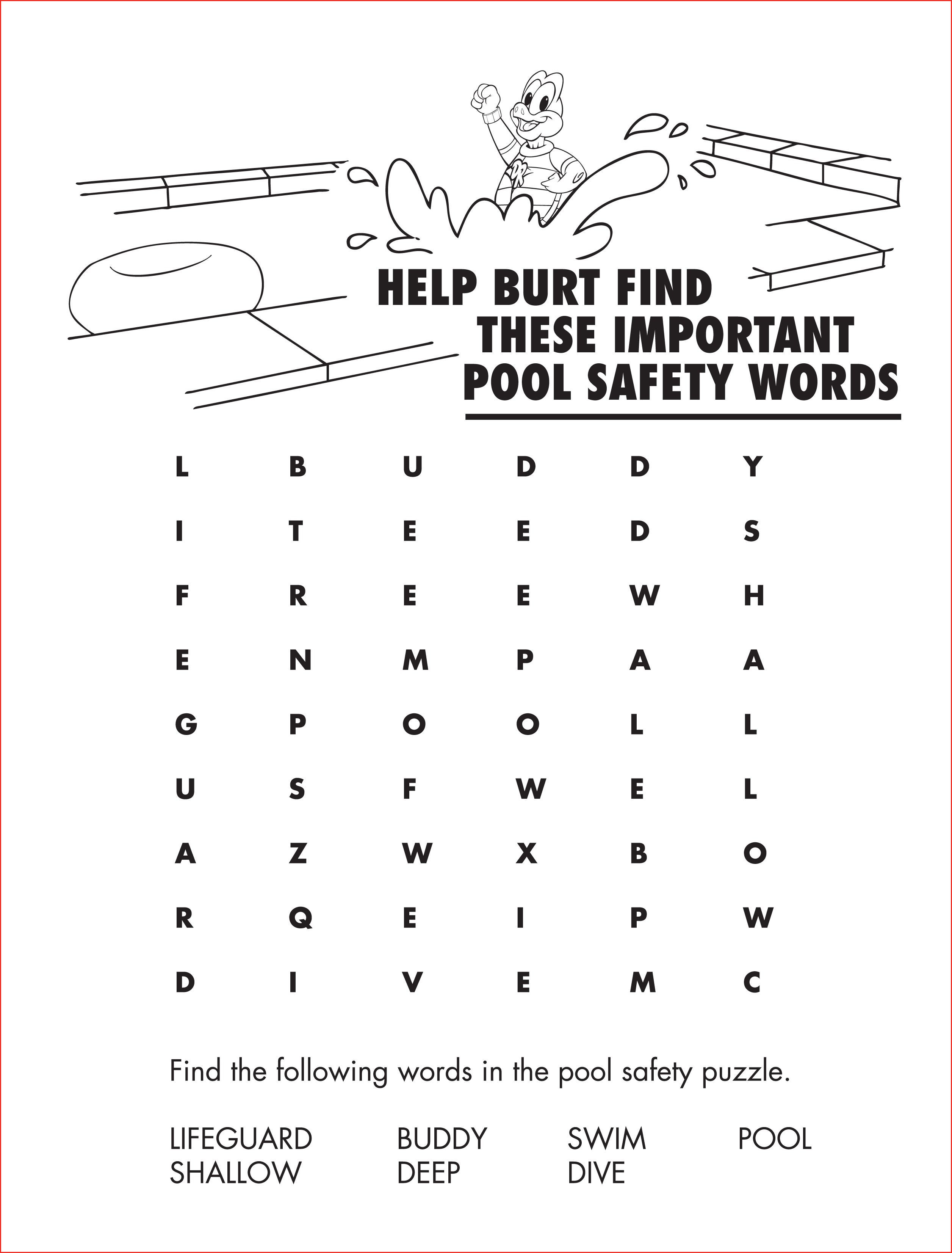 Word Search Coloring Pages Water Safety Coloring Pages 203864 Preschool Printable Word Search