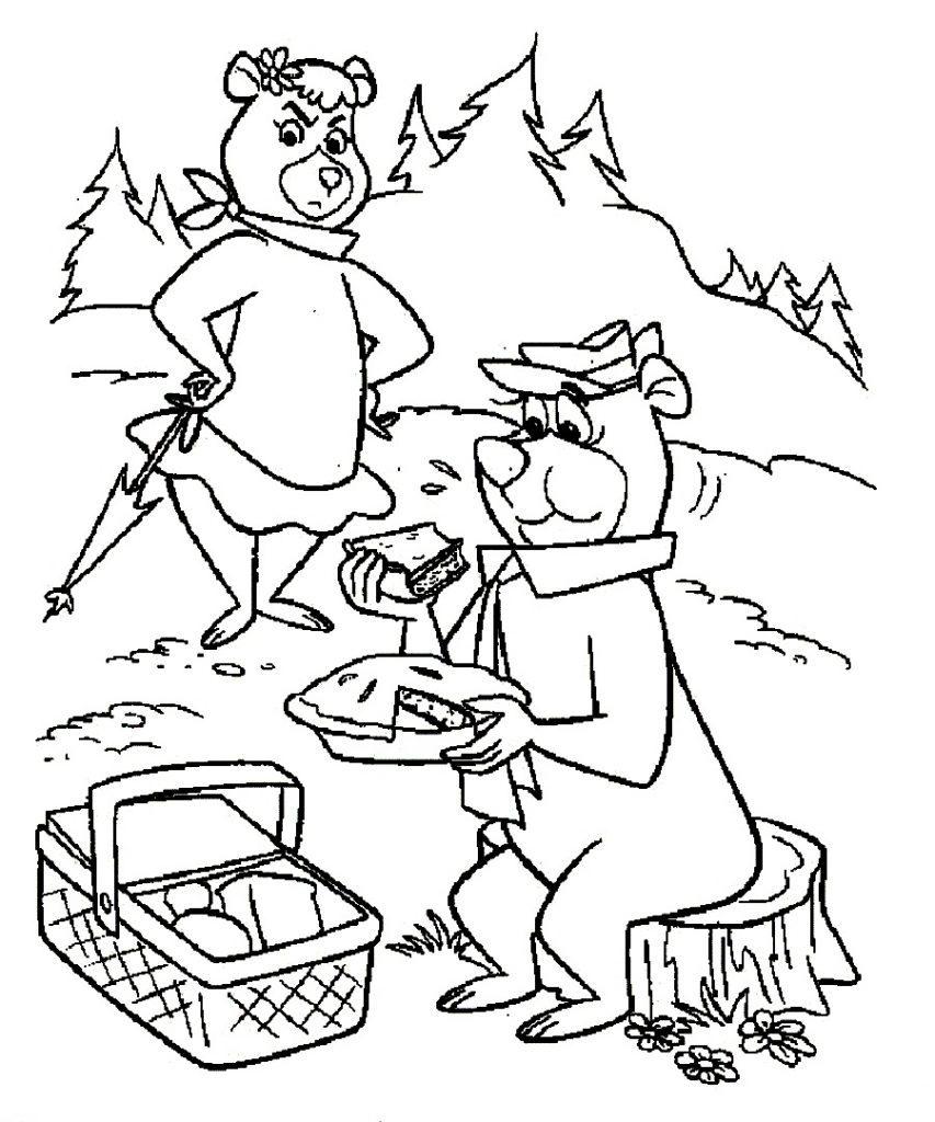 Yogi Bear Coloring Page Yogi Bear Camping Coloring Pages Print Coloring
